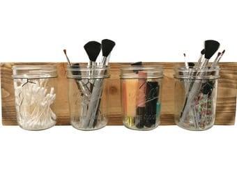 Rustic Mason Jar Organizer - makeup organizer bathroom organization bathroom wall decor mason jar wall decor makeup brush holder toothbrush