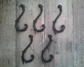 5 x Victorian French Antique Iron Coat  and Hat Hook or Wall Hook Set of 5