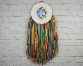 Clothing Boutique Embroidery Hoop Art~Boutique Decor~Boutique Sign~Consultant Sign~Rainbow Decor~Yarn Art