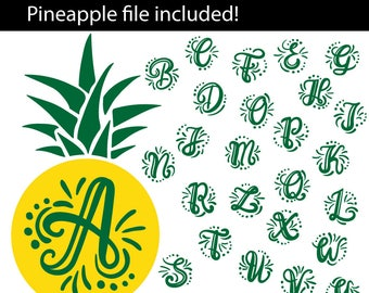 A-Z hand lettered Initials with pineapple, SVG, eps, png, jpeg, dxf, vector, cut file, digital download