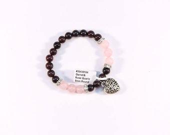 Sleek Garnet and Rose Quartz bracelet.