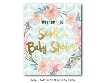 Boho baby shower welcome sign, boho shower welcome sign, baby shower welcome sign, baby shower decor, baby shower printable (Sarah)
