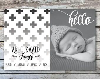 Baby announcement, birth announcement, baby announcement card, new baby announcement, new birth announcement, new baby thank you (Arlo 1)