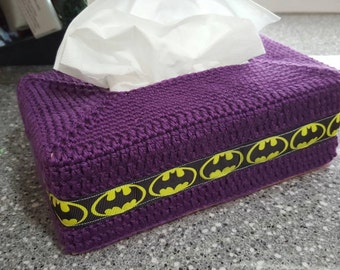 Purple Batman Crocheted Tissue Box Cover