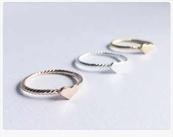 Ring turned ROSÉGOLD, ring, heart, ring, ring in rose gold heart