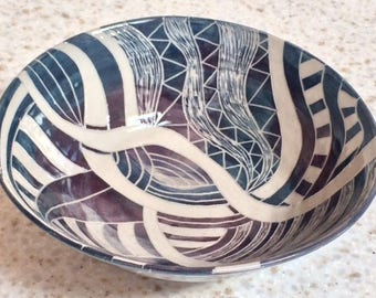 Unique, hand carved ceramic serving bowl with geometric designs and textures, handmade decorative pottery bowl