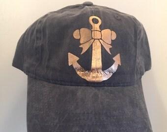 Rose Gold Anchor Baseball Hat