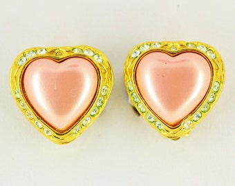 Vintage Joan Rivers Earrings Clip On - Big Pink Rhinestone Heart Earrings - Estate Jewelry - Joan Rivers Jewelry Statement Heart Jewelry