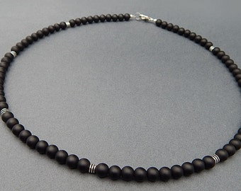 Mens Choker Necklace, Gemstone Choker, Mens Matte Onyx Necklace, Mens Beaded Necklace, 8mm Mens Black Onyx Necklace, Mens Gemstone Jewelry