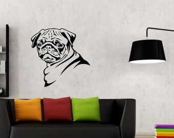 Pug silhouette vinyl Wall Art or sticker