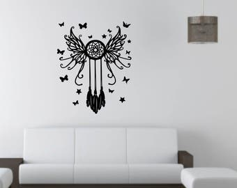 Dreamcatcher with butterflies and butterfly wings wall vinyl or sticker