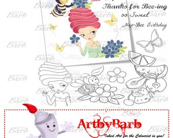 Bee Dressser, cute line art, digital stamp, clip art, art print, wordart, to colour, to craft, greeting card, crafty make, cute digi
