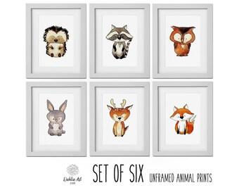 Woodland Nursery Wall Art, Woodland Wall Art, Nursery Decor, Nursery Art, Owl, Fox, Raccoon, Boy Bedroom Canvas or Prints Set of 6