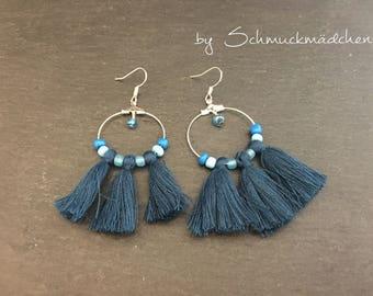 Ohrringe Hänger Quasten Blau