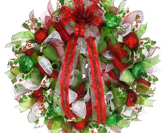 Traditional Christmas Wreath - Home for the Holiday - Christmas Decor - Front Door Decor - Holiday Decor -Holiday Wreath