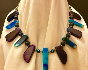 Royal Purple & Ocean Blue Stone Luster Necklace