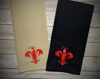 Crawfish kitchen towels, Crawfish Fleur De Lis, dish towels, tea towels, towels, hand towels, cajun towels, kitchen decor, decorative towels