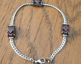 Sterling  Red Garnet and Marcasite Bracelet