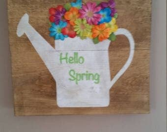 Hello Spring Flower Pot wall art