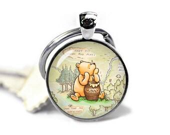 Winnie the Pooh Keychain Winnie Pooh Keyfob Hundred Acre Wood Winnie Pooh Keyring