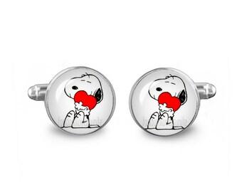 Snoopy Heart Cuff Links Peanuts Cuff Links 16mm Cufflinks Gift for Men Groomsmen Novelty Cuff links Fandom Jewelry