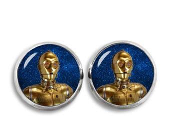 C3PO Stud Earrings Droid C3PO Earrings 12mm Star Wars Fandom Jewelry  Geeky Fangirl Fanboy