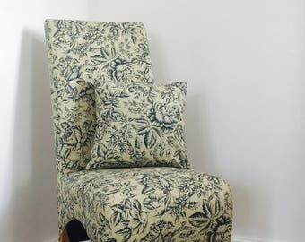 Upcycled Bedroom Occasional Blue and Cream Patterned Chair with Knocker and Loose Cushion