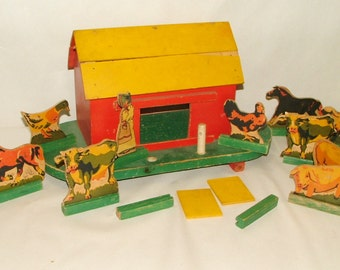 Antique Toy Wooden Farm Play Set 1930's  *****1930's*****
