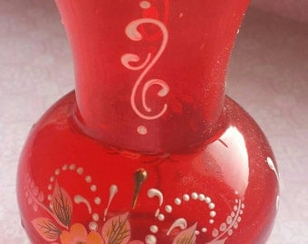 Vintage Small Red Hand Painted Flowers Glass Vase  Home Decor