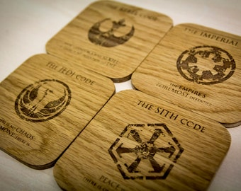 Star Wars inspired cult code coasters - Set of Four