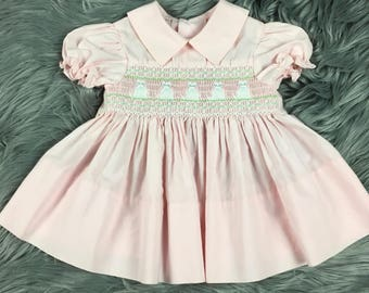Vintage 50s Baby Girl Pink Smocked Embroidered Cat Dress 12 Months