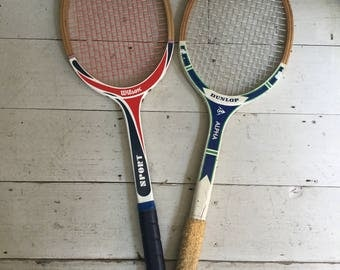 Step back in time with a pair of Vintage Retro Wooden Tennis Rackets by Dunlop and Wilson for the Games Room or Trophy Room