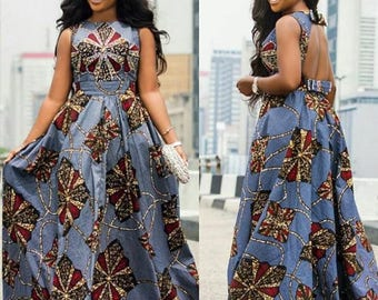 Open Back Ankara Maxi Gown with Fashion Bows
