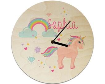 Unicorn and Rainbow Personalised Childrens Clock / Kids Clock