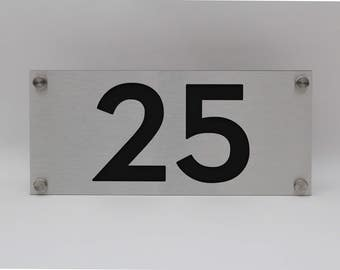 Custom house numbers / address made from Matte Black Perspex and Brushed Aluminium
