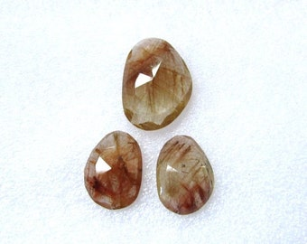 Pair (3 pcs) Natural Copper Rutile, Uneven Rose Cut, Size (22x16 mm - 1 pcs Or 17x12.5 mm -2 pcs) Irregular Rose cut,AAA Quality