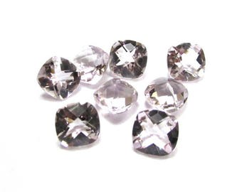Wholesale 8 pieces lot 10mm PINK AMETHYST Cushion Checker Cut Faceted Gemstone
