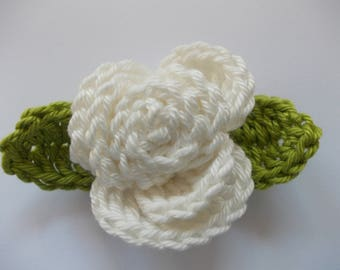 1 crochet rose with leaves - nature