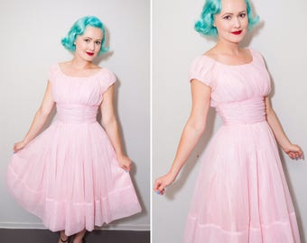 1950's Bubblegum Pink Chiffon Party Dress | Size XS