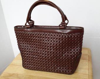 Vintage Liz Claiborne Woven Effect Handbag. Rich Brown.