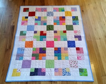 RESERVED FOR NELLIE T******Scrappy Nine Patch Baby Quilt/Bright Color Quilt/Handmade Quilt/Small Lap Quilt/Wheelchair Quilt