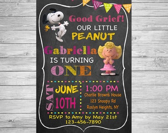 Snoopy Birthday Invitation - Peanuts Birthday Invitation - Snoopy Birthday Girl Invitation