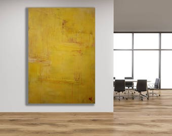 XL Yellow Abstract Painting with Texture / Yellow and Pink Painting / Modern Art / Texture Painting / Oversized Abstract Art