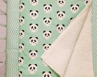 Panda blanket - minky blanket - custom blanket - stroller blanket - receiving blanket - security blanket - Infant blanket - crib blanket
