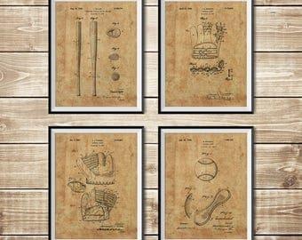Baseball Ball Art, Patent Print Group, Baseball Sign, Baseball Bat Art, Baseball Art Poster, Baseball Art Set, Baseball, INSTANT DOWNLOAD