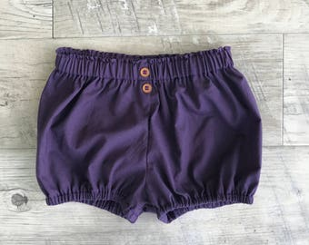 Baby bloomers/bloomers/baby shorts/summer baby bloomers/diaper cover/baby diaper cover/plum baby bloomers/summer bloomers/