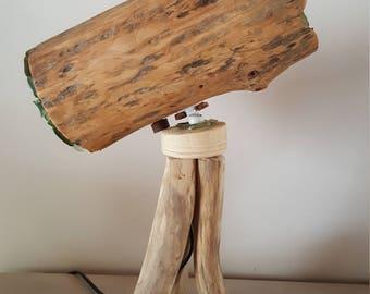 lampe télescope bois flotté