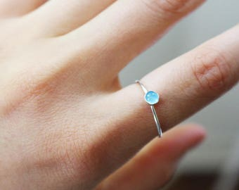 Minimal Sterling Silver Ring, Stackable Rings, Blue Chalcedony Ring, Blue Gem