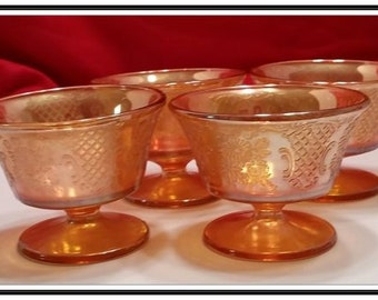 Set of 4 Federal Glass Normandie-Iridescent Champagne/Tall Sherbet Glasses