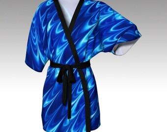 Kimono Robe, Draped Kimono, Dressing Gown, Blue Robe, Beach Coverup, Bridesmaid Robe, Lounge Wear, Swimsuit Coverup, Swimmer Gift, Women